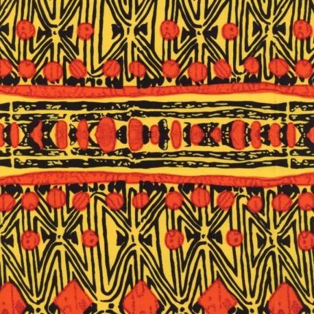 Tissu Super Wax Forme Rouge et jaune