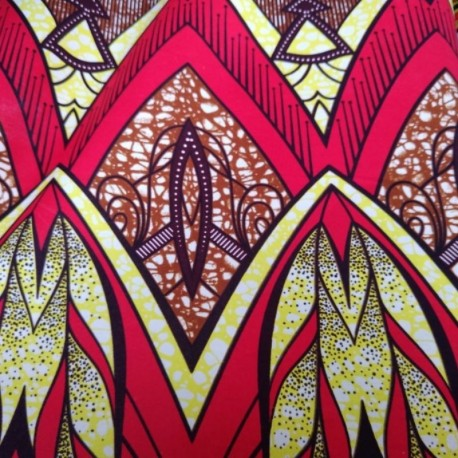 Tissu Super Wax Poisson Fond Rouge