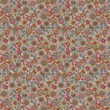Tissu Demi panama Floral Fond Lin