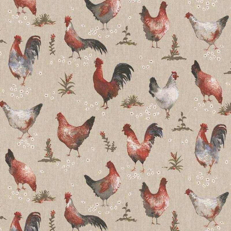 Tissu Demi panama Chicken Farm Fond Lin