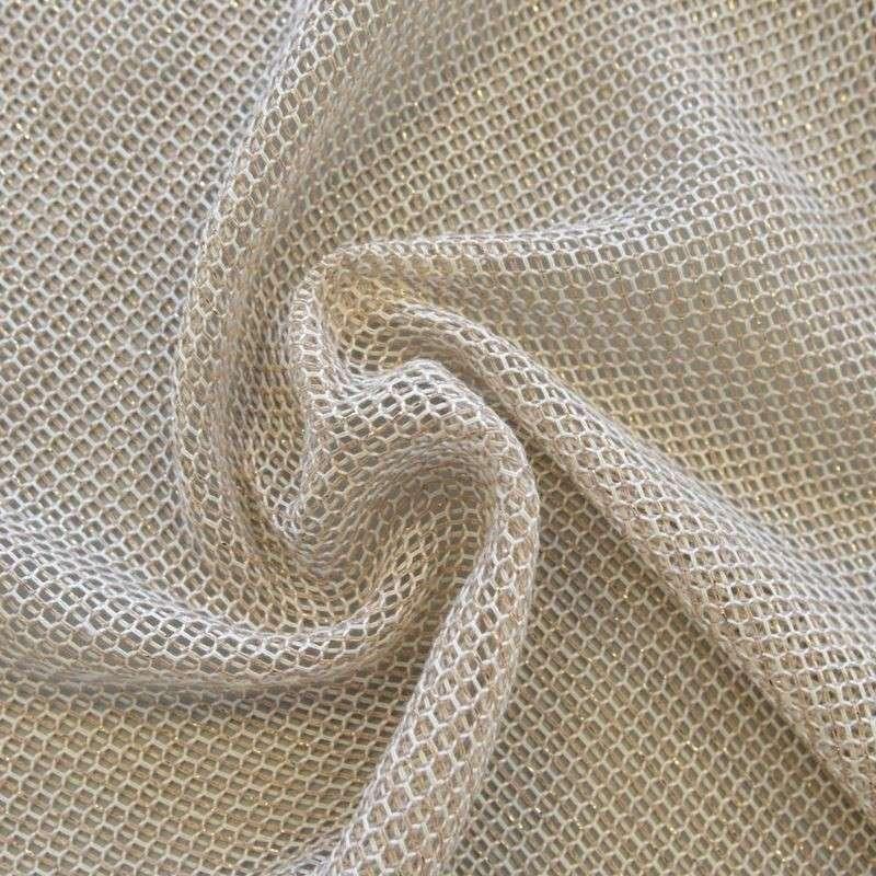 Tissu Voilage Filet Lurex Stelly Beige