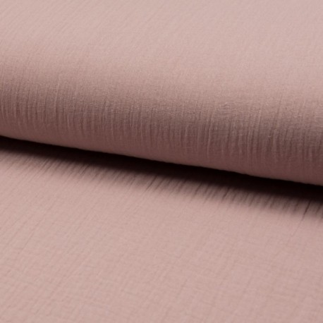 Tissu Double Gaze Uni Rose Poudre