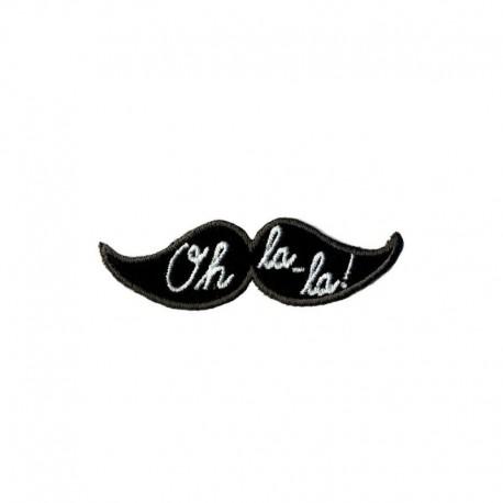 Ecusson Thermocollant Motif Moustache Oh La La