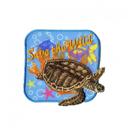 Ecusson Thermocollant Motif Save The Wild Tortue
