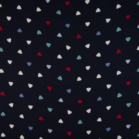 Tissu Coton Imprimé Triangle Multico Fond Navy