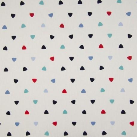 Tissu Coton Imprimé Triangle Multico Fond Blanc
