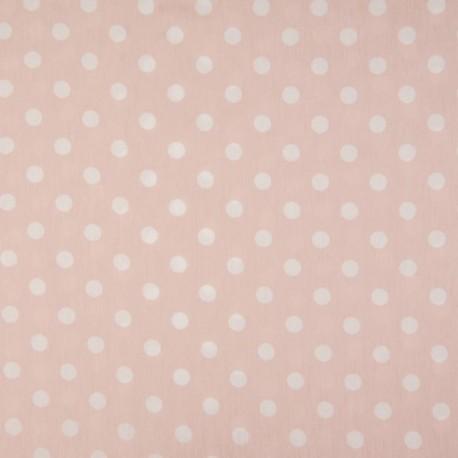 Tissu Coton Imprimé Pois Fond Rose
