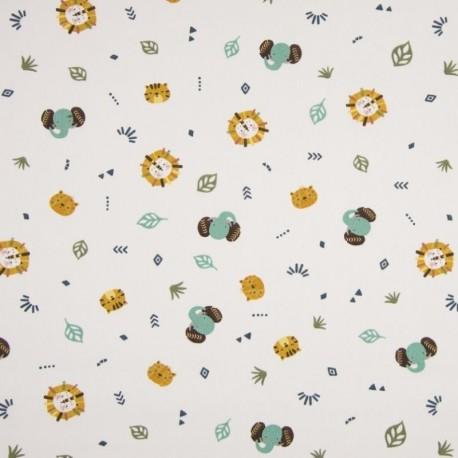 Tissu Coton Imprimé Elephant Lion