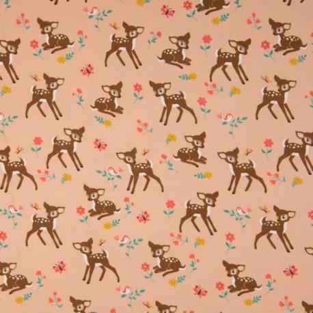 Tissu Jersey Imprimé Bambi Fond Saumon