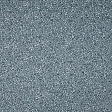 Tissu Jersey Coton Imprimé Pois Fond Bleu