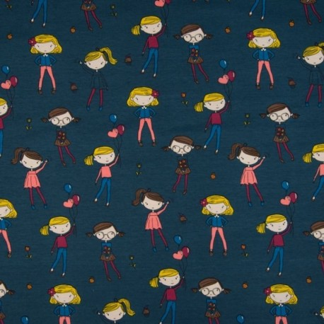 Tissu Jersey Coton Imprimé Enfant Fond Jeans