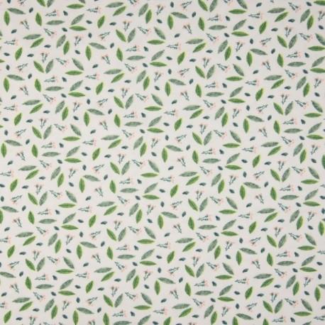 Tissu Jersey Coton Imprimé Feuillage Blanc