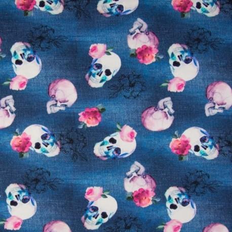 Tissu Digital Imprimé Tête de Mort Fond Jeans