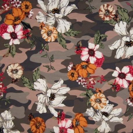 Tissu Digital Imprimé Camouflage Taupe