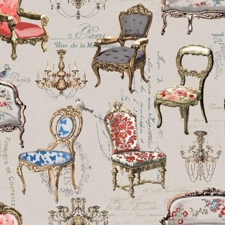 Tissu Baroque 1 Digital Chaise Multicolore