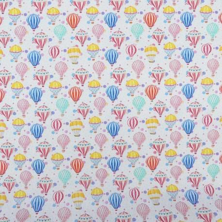 Tissu Popeline Digitale Air Ballon Imprimé Montgolfiere