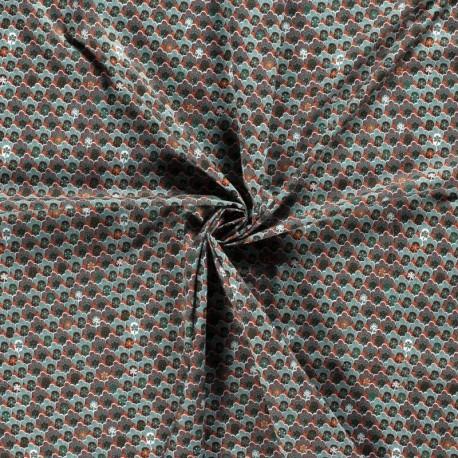 Tissu Imprimé Fleur Rétro Pétrole