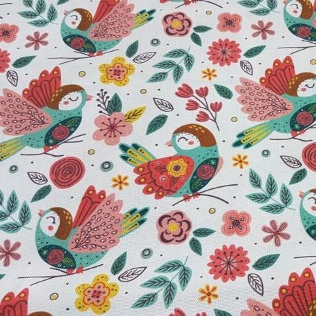 Tissu Happy Bird Cretonne Orange