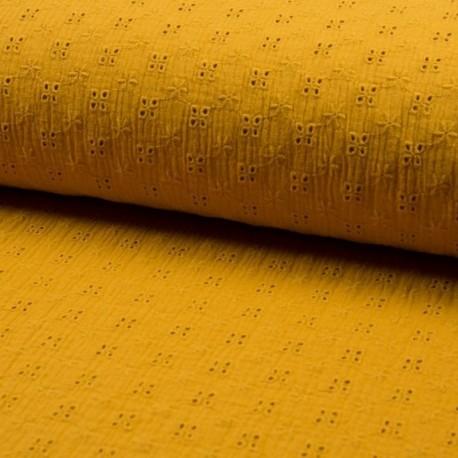 Tissu Double Gaze Brodé Ocre jaune