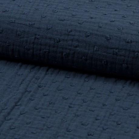 Tissu Double Gaze Pois Jeans