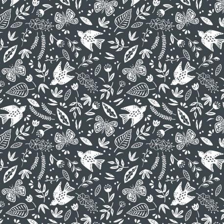 Tissu Coton Imprimé Paz Anthracite