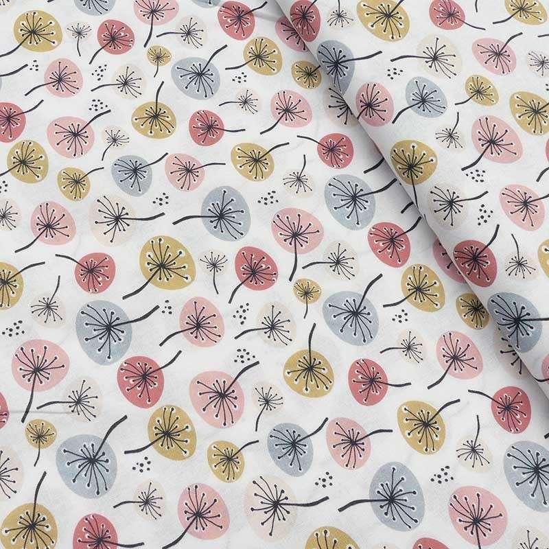 Tissu Cretonne Bio Fleurs Blanc