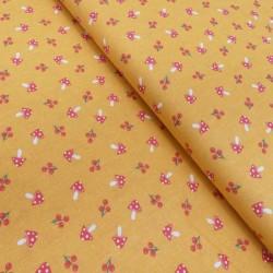 Tissu Coton Imprimé Champi Moutarde
