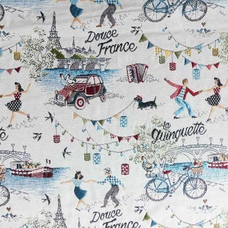 Tissu Jacquard allover Douce France Blanc