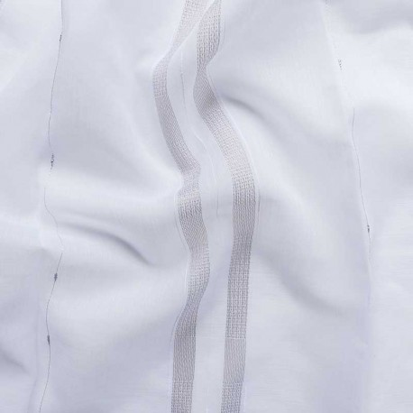 Tissu Voilage Etamine Rayures Irisées Beige