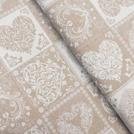 Tissu Imprimé Coeurs Amore Patchwork Fond Coloris Lin