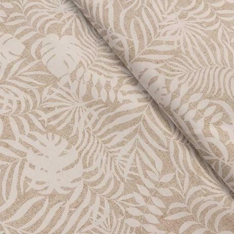 Tissu Imprimé Feuillage Max Tropical Coloris Fond Lin