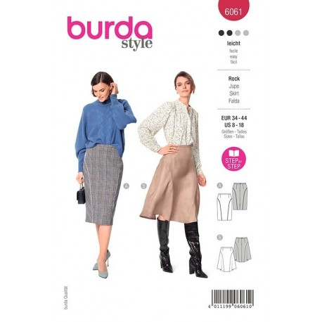 Patron Burda 6061 Jupe Decoupe Arrondie 34/44