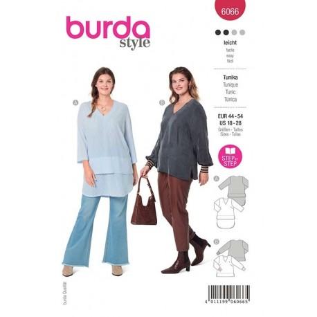Patron Burda 6066 Tunique Encolure V 44/54