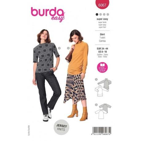 Patron Burda 6067 T Shirt Manche Raglan 34/44