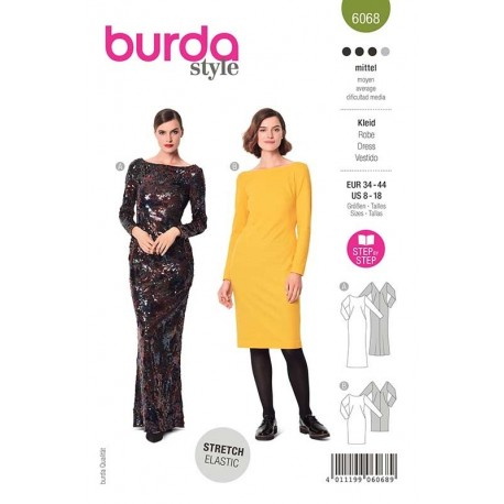 Patron Burda 6068 Robe De Soirée 34/44
