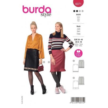 Patron Burda 6071 Jupe Forme Droite 34/44