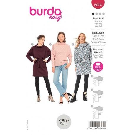 Patron Burda 6074 T Shirt/robe Col Roule 34/44