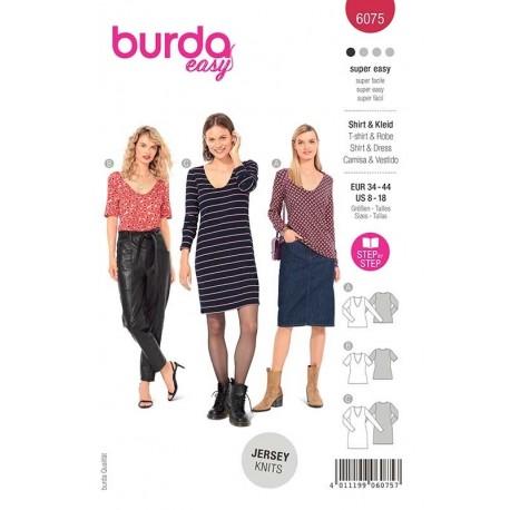 Patron Burda 6075 T Shirt/robe Col V 34/44