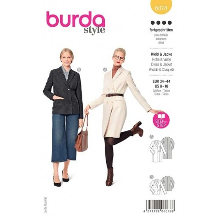 Patron Burda 6078 Robe Blazer/veste 34/44