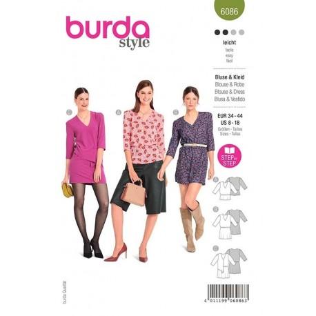 Patron Burda 6086 Blouse/robe 34/44