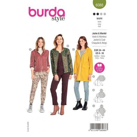 Patron Burda 6088 Veste/manteau 34/44