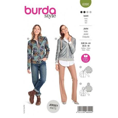 Patron Burda 6090 Veste Sweat Shirt 34/44