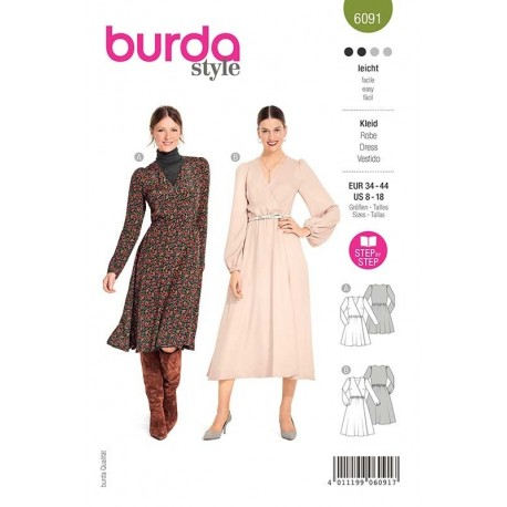 Patron Burda 6091 Robe Portefeuille 34/44