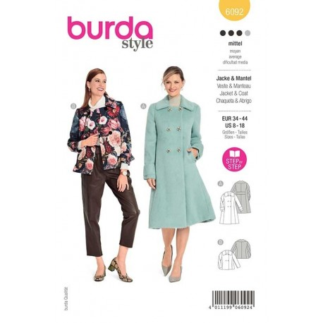 Patron Burda 6092 Manteau/veste De Boutonnage 34/44