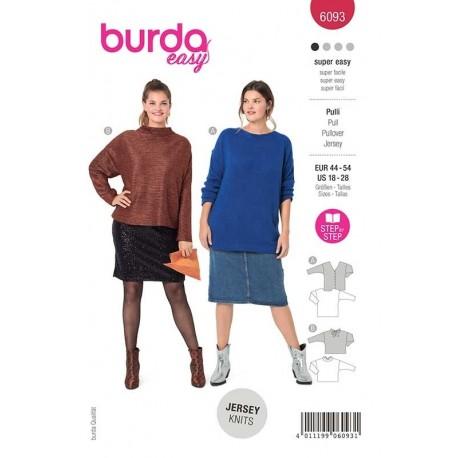 Patron Burda 6093 Pull Decollete/noeud 44/54