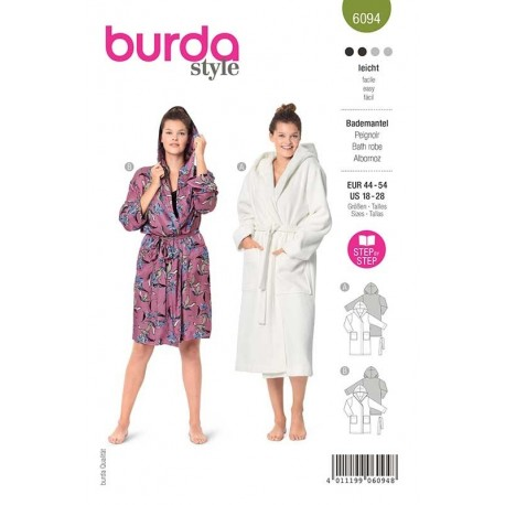 Patron Burda 6094 Peignoir Capuche 44/54