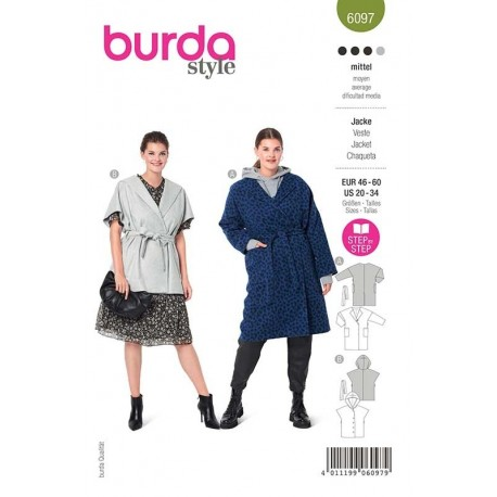 Patron Burda 6097 Manteau/gilet Oversize 46/60