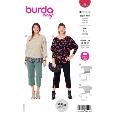 Patron Burda 6098 T Shirt Manche Kimono 46/60