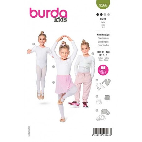 Patron Burda 9266 Kids Body/jupe/gilet 98/128