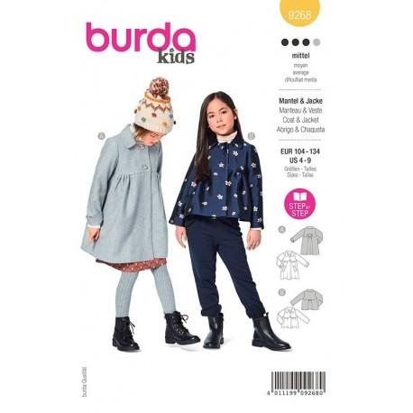 Patron Burda 9268 Kids Manteau/veste Col Claudine 104/134